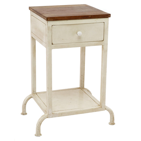 Iron and Wooden Top Side Table