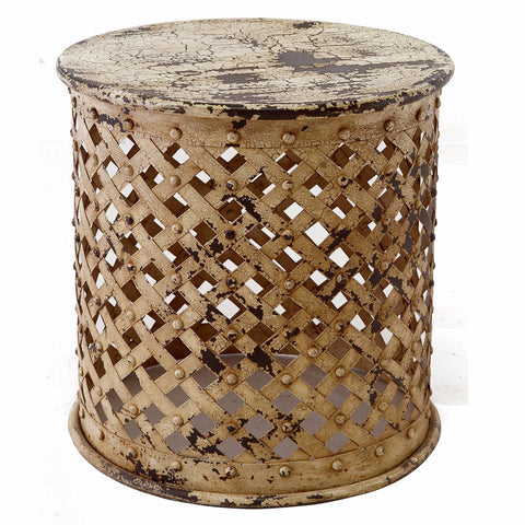 Iron Bamileke Stool, Antique White
