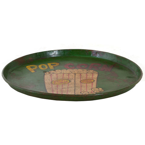 Painted Iron Round Tray, Popcorn