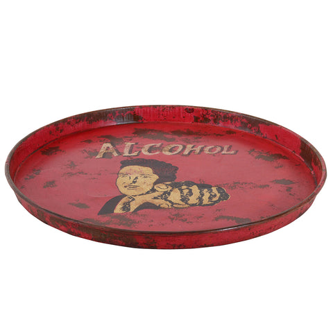 Painted Iron Round Tray, Red Alcohol