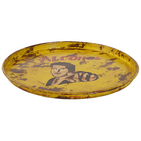 Painted Iron Round Tray, Yellow Alcohol