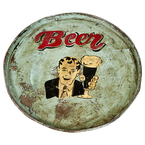 Painted Iron Round Tray, Mint Beer
