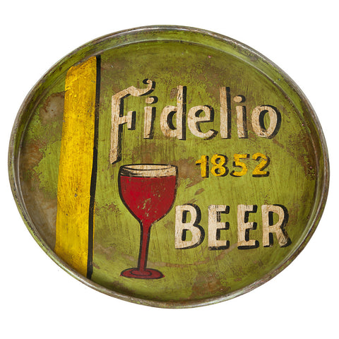 Painted Iron Round Tray, Fidelio Beer