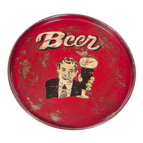 Painted Iron Round Tray, Red Beer