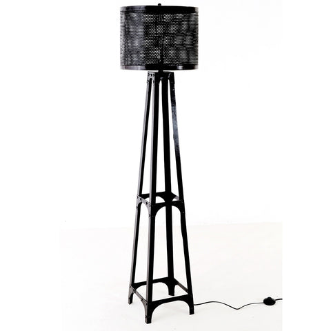 Perforated Drum Floor Lamp, Gun Metal