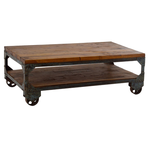 Iron Wood Coffee Table on Wheels