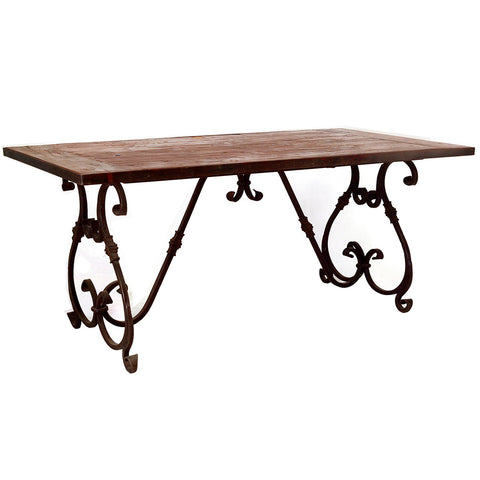 Wrought Iron and Wood Dining Table