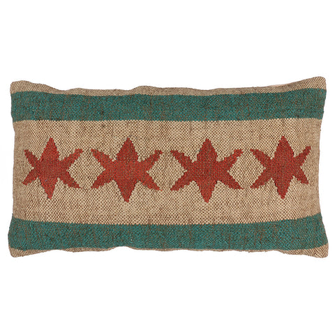 Chicago Flag 4 Star Lumbar Pillow