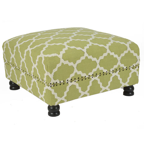 Lattice Box Ottoman, Light Green