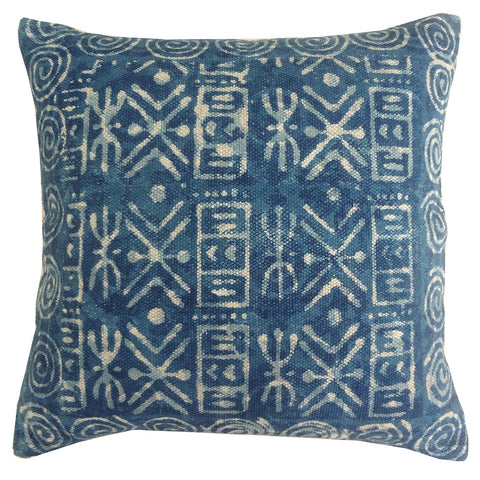 "Dabu Pillow 24"" x 24"", Indigo"