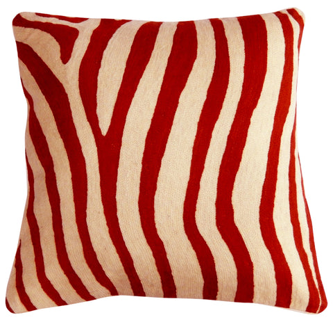 "Zebra Pillow 20"", Orange"