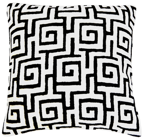 "Crewel Pillow 20"", Black & White"
