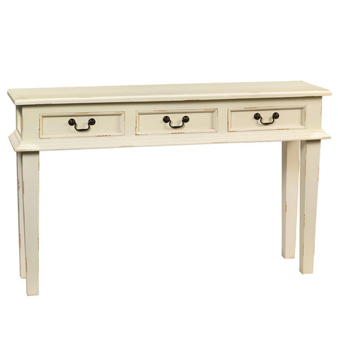 Alex Three Drawer Console, Cloud White