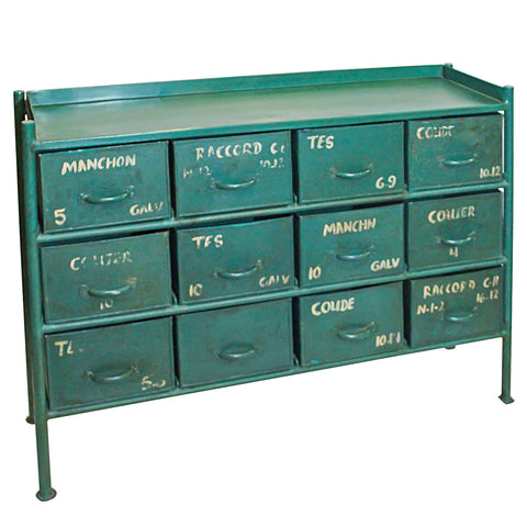 Iron 12 Drawer Chest, Dark Green