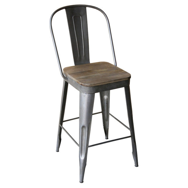 Frenchy Counter Stool 25 Seat Antique Nickel Wrightwood Furniture