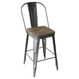 "Frenchy Counter Stool - 25"" seat, Antique Nickel"