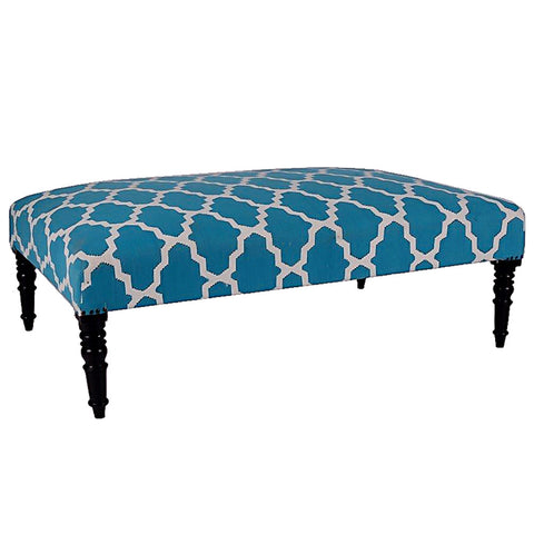Natural Fibers Ottoman, Light Blue Lattice