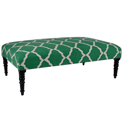Natural Fibers Ottoman, Green Lattice