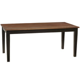 "Farmhouse Dining Table 72"", Dark Mahogany Top with Black Legs"