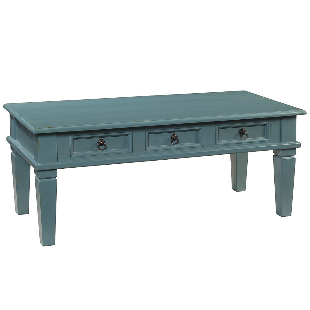 Hudson tapered leg coffee table teal for Teal coffee table