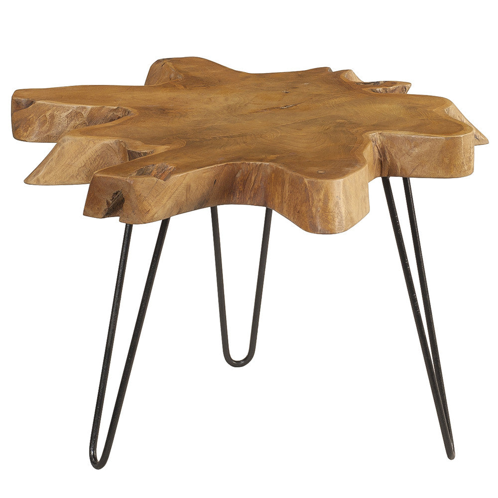 Round Coffee Table With Metal Legs: Mari Round Teak Slab Coffee Table With Metal Legs, Honey