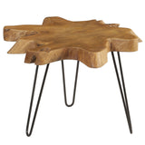 Mari Round Teak Slab Coffee Table with Metal Legs, Honey