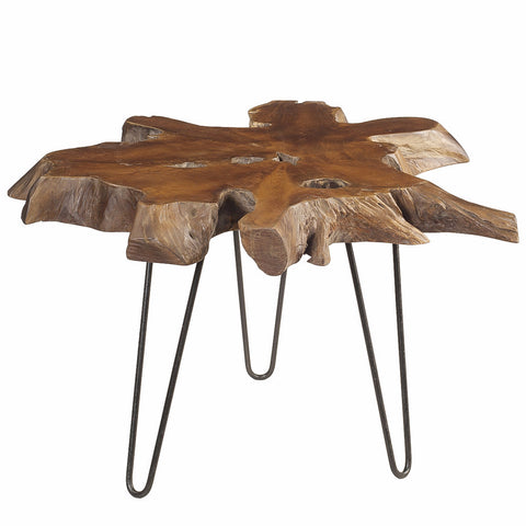 Mari Round Teak Slab Coffee Table with Metal Legs, Dark Brown
