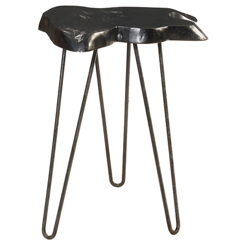 Samita Round Teak Slab End Table with Metal Legs, Black