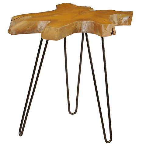 Samita Round Teak Slab End Table with Metal Legs, Honey