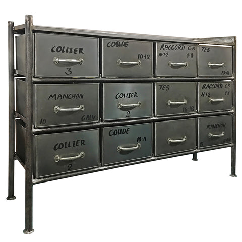 Iron 12 Drawer Chest, Natural Gray