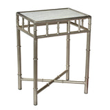 Selene Iron & Marble Side Table, Nickel