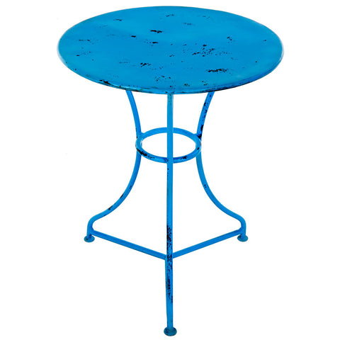 Leto Iron Side Table, Blue Distress