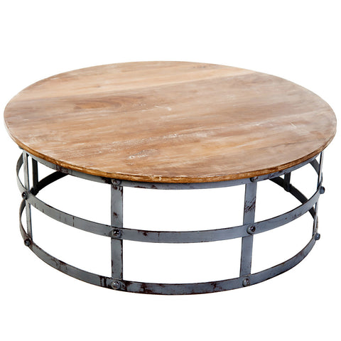 Lyssa Round Iron & Wood Coffee Table