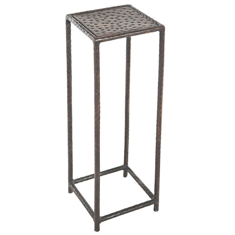 Little Hammered Square Iron Side Table, Antique Black