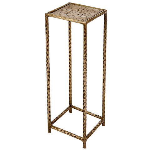 Little Hammered Square Iron Side Table, Brass