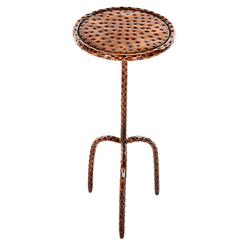 Little Hammered Iron Round Side Table, Brass