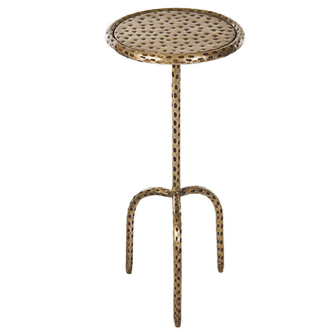 Little Hammered Iron Round Side Table, Copper