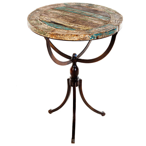 Rhea Reclaimed Round Iron Side Table, Antique Black