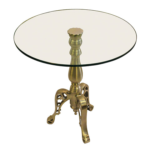 Mucha End Table with Glass Top, Pewter