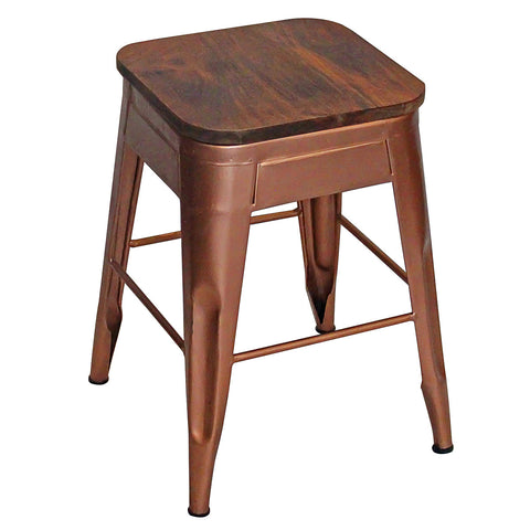 "Galvan Iron Wood Stool 18"" High, Bronze"