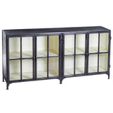 Taranto Iron and Glass Cabinet, Gun Metal with White Inside