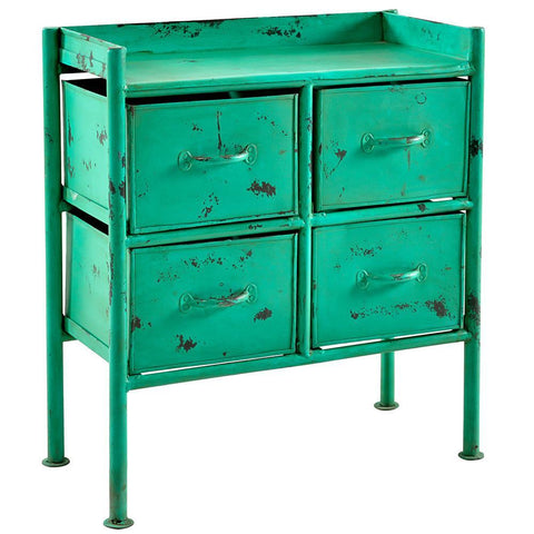 Lahar Iron 4 Drawer Side Table, Green