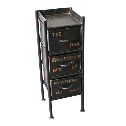 Kocki Iron 3 Drawer Side Table, Black