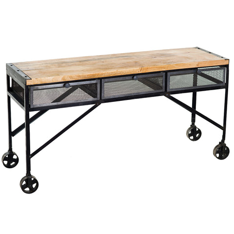 Proximo Industrial Wood and Iron Desk, Halfwash & Buff