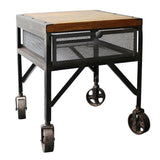 Harper Iron & Wood Side Table, Halfwash & Buff Wood