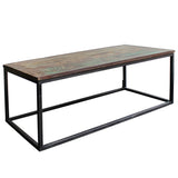 Surat Iron & Wooden Coffee Table, Gun Metal with Recycled Wood