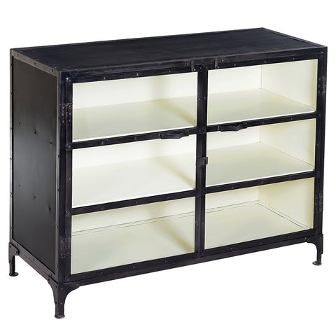 Jack Industrial Iron and Glass Cabinet, Gun Metal with White Inside