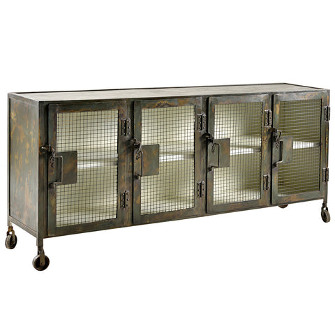 Pallini Iron Sideboard, Green Outside and White Inside