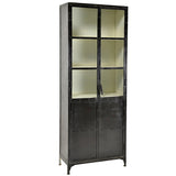 Thermi Iron & Glass Cabinet, Gun Metal Outside with White Inside