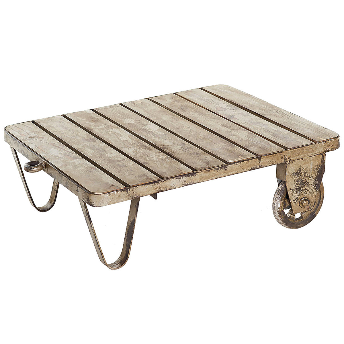 Rafina Iron U0026 Wood Cart Coffee Table, Gray Wash